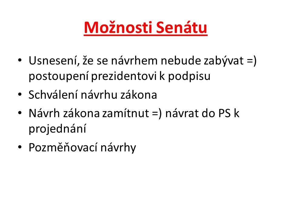 Možnosti Senátu Usnesení, že se návrhem nebude zabývat =) postoupení prezidentovi k podpisu. Schválení návrhu zákona.