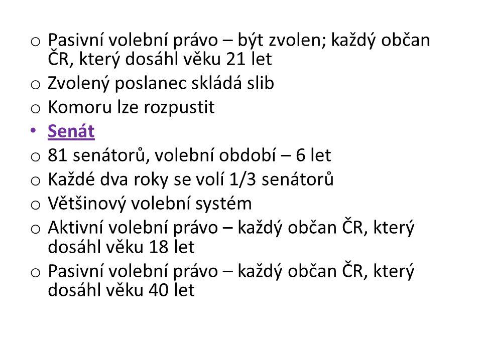 Pasivní volební právo – být zvolen; každý občan ČR, který dosáhl věku 21 let