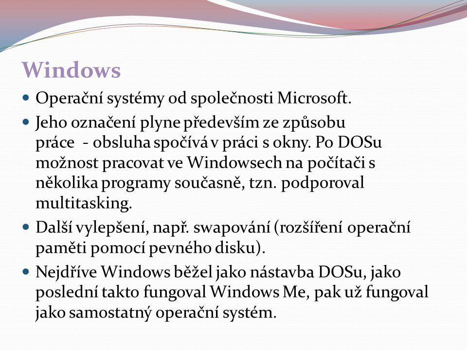 Windows Operační systémy od společnosti Microsoft.