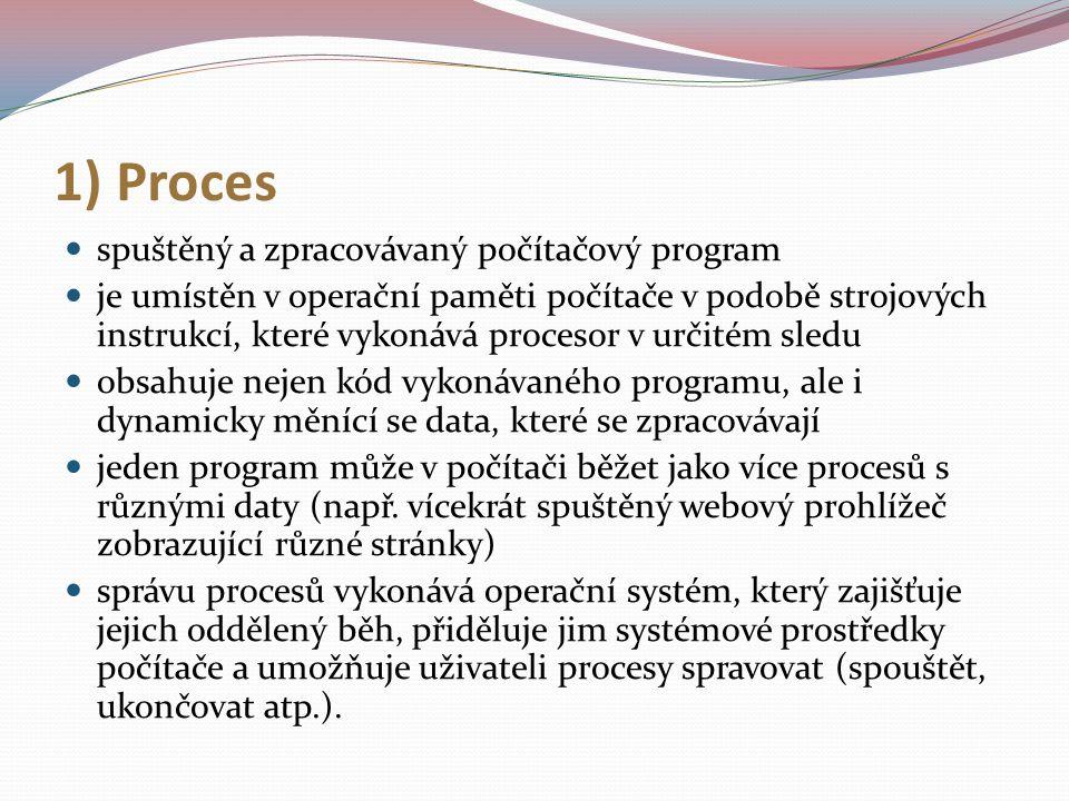 1) Proces spuštěný a zpracovávaný počítačový program