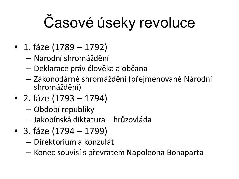 Časové úseky revoluce 1. fáze (1789 – 1792) 2. fáze (1793 – 1794)