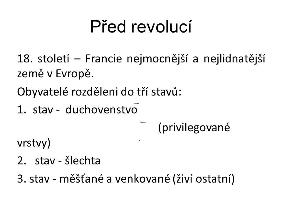Před revolucí 18. století – Francie nejmocnější a nejlidnatější země v Evropě. Obyvatelé rozděleni do tří stavů: