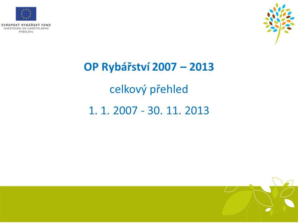 OP Rybářství 2007 – 2013 celkový přehled 1. 1. 2007 - 30. 11. 2013