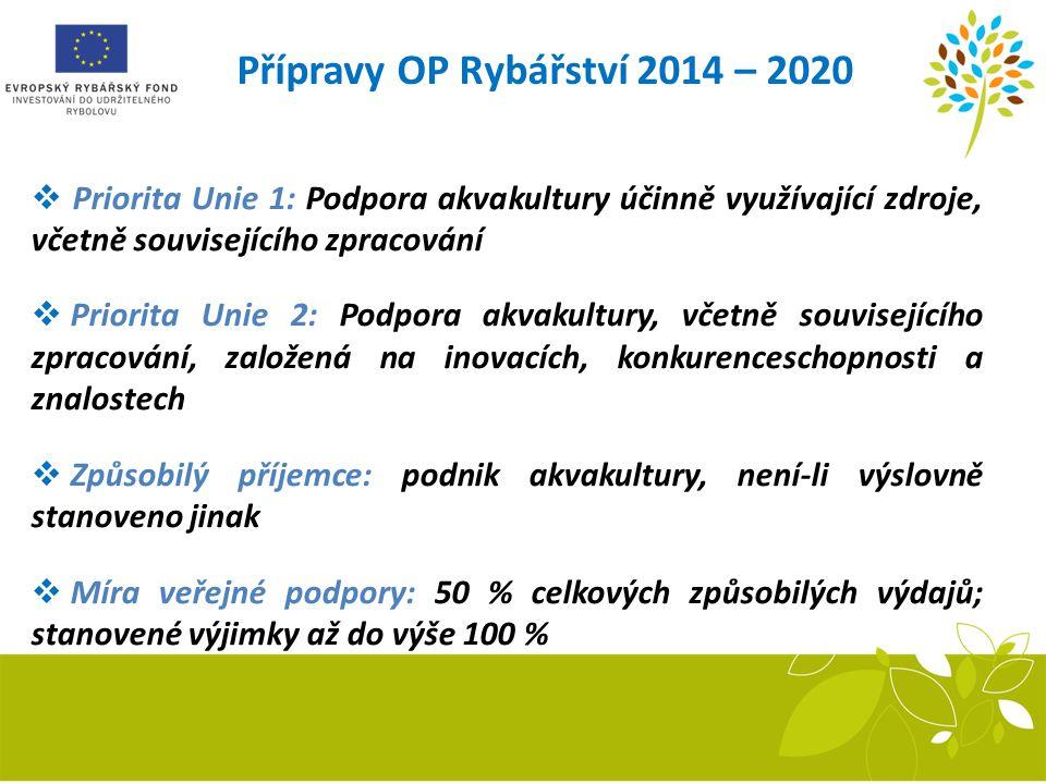 Přípravy OP Rybářství 2014 – 2020