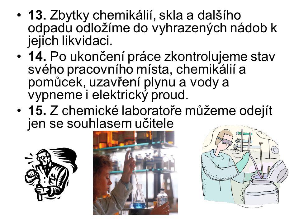 13. Zbytky chemikálií, skla a dalšího odpadu odložíme do vyhrazených nádob k jejich likvidaci.