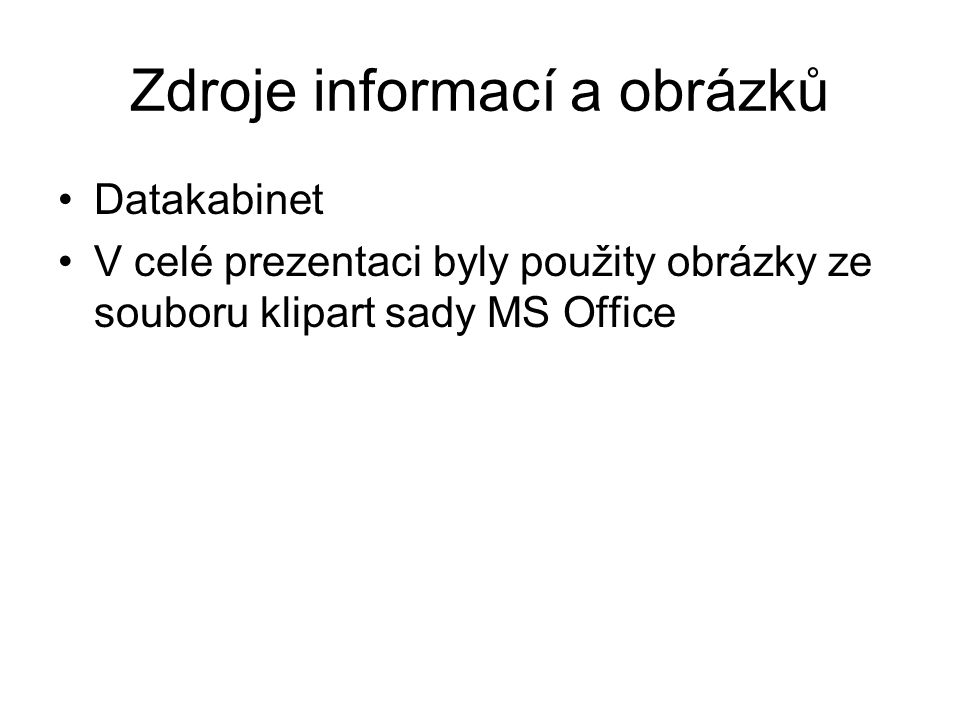 Zdroje informací a obrázků