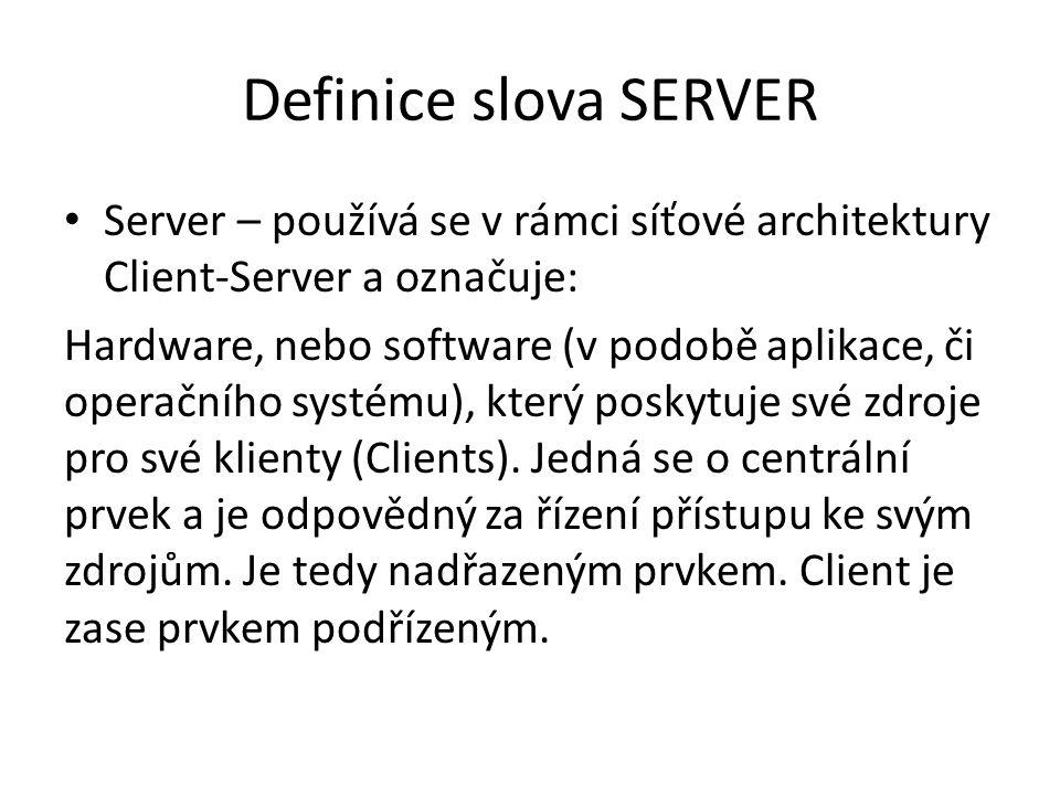 Definice slova SERVER Server – používá se v rámci síťové architektury Client-Server a označuje: