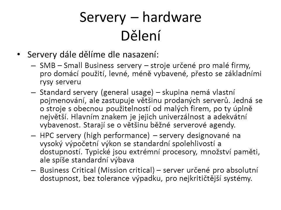 Servery – hardware Dělení