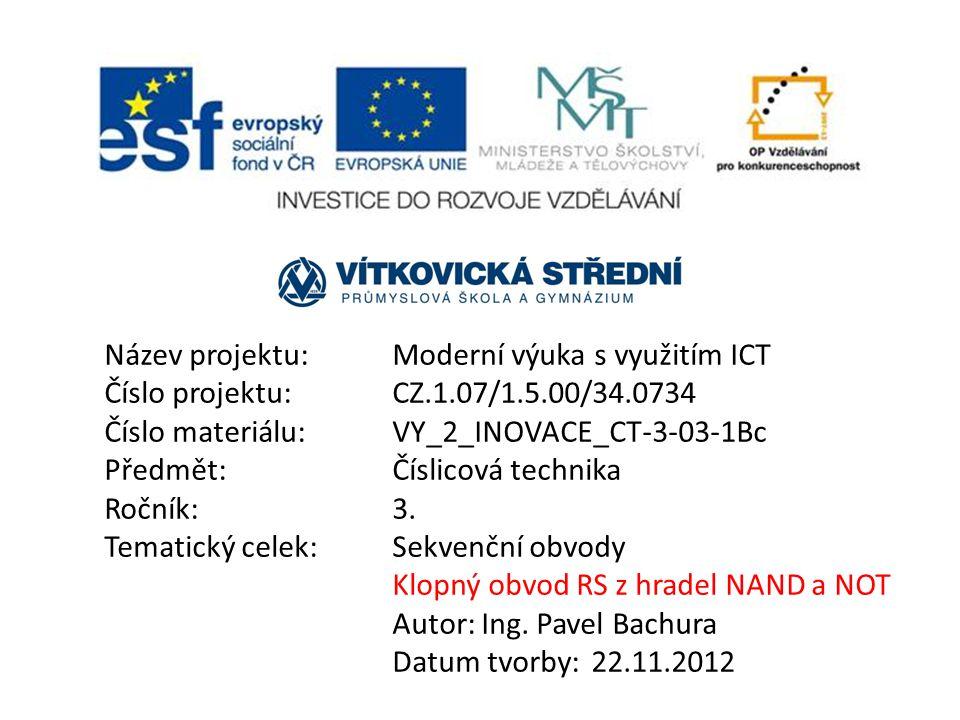 Název projektu: Moderní výuka s využitím ICT