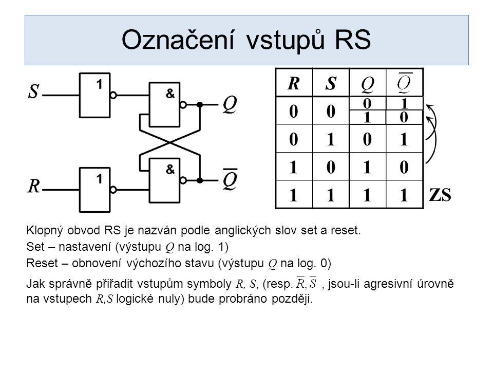 Označení vstupů RS R S Q 1 ZS