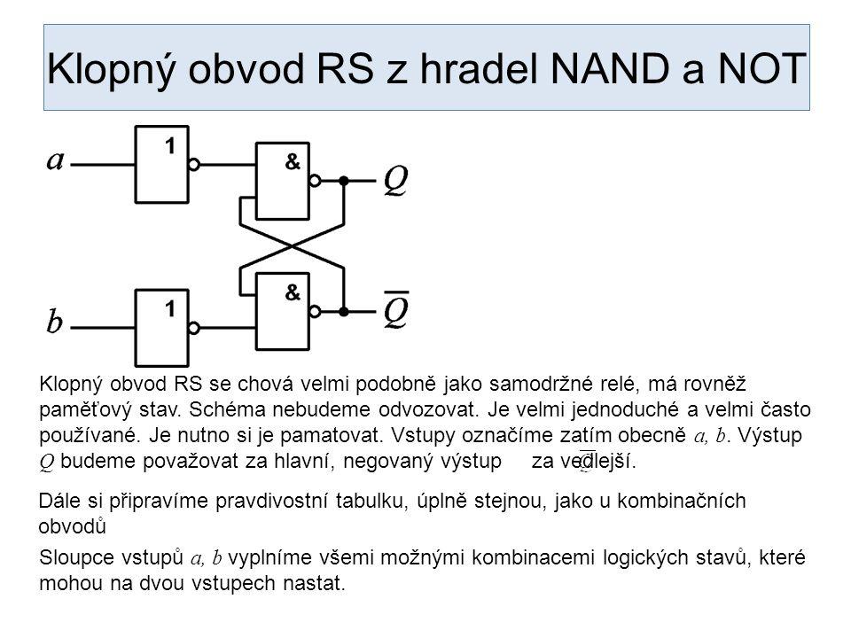 Klopný obvod RS z hradel NAND a NOT