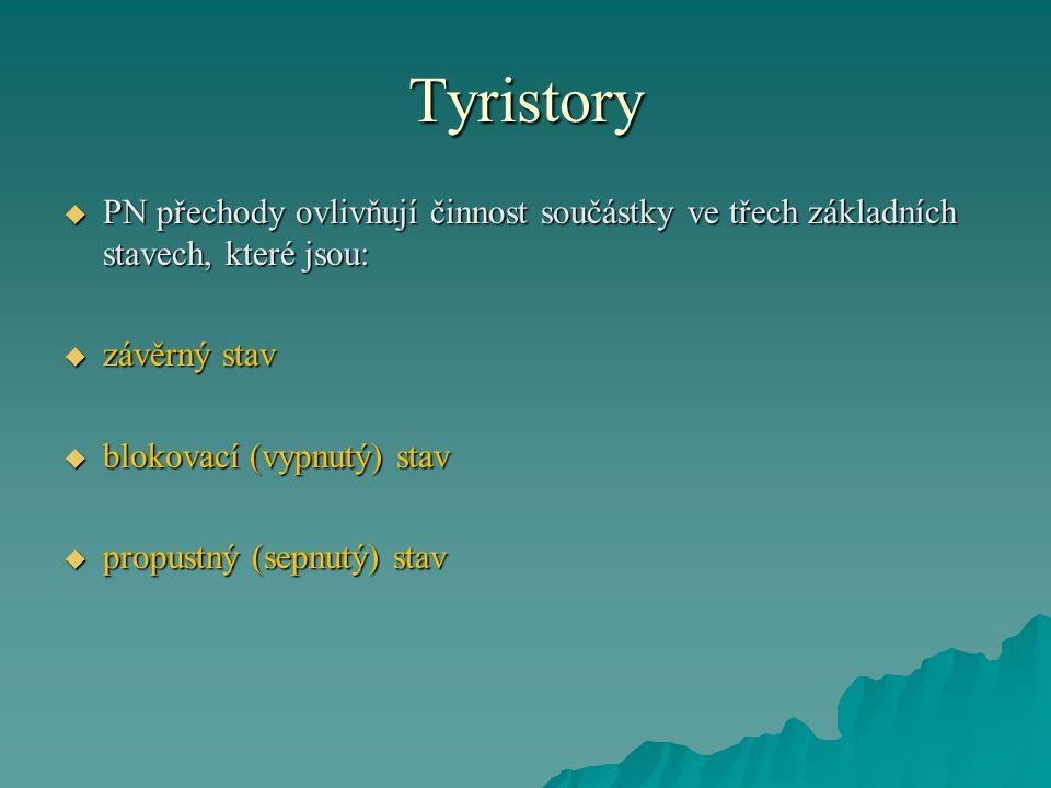 Tyristory PN přechody ovlivňují činnost součástky ve třech základních stavech, které jsou: závěrný stav.