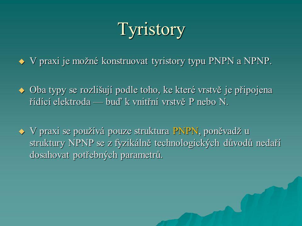 Tyristory V praxi je možné konstruovat tyristory typu PNPN a NPNP.