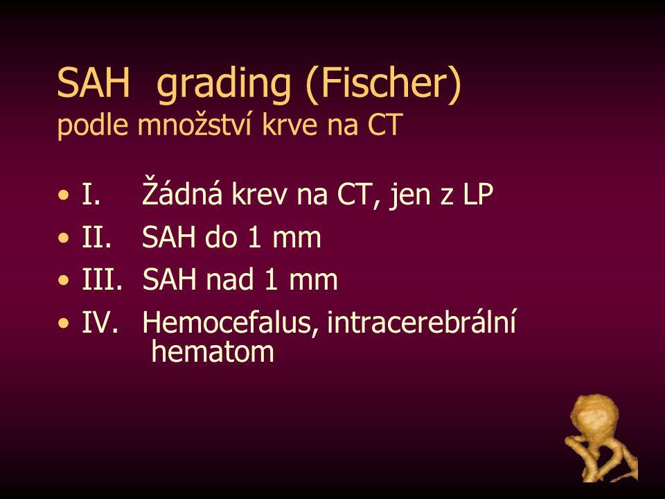 SAH grading (Fischer) podle množství krve na CT