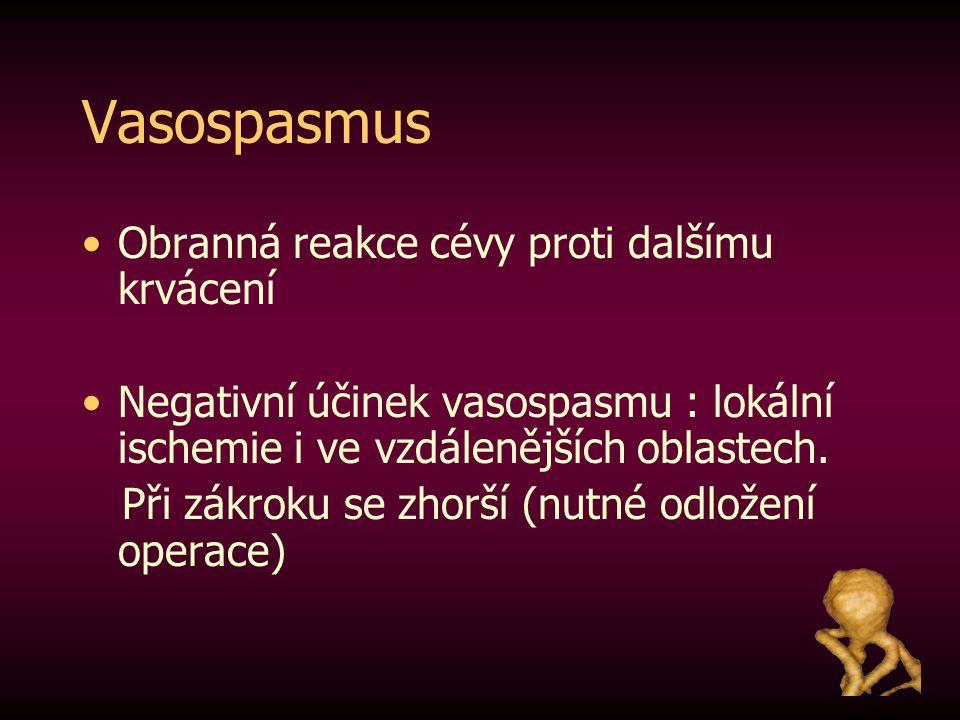 Vasospasmus Obranná reakce cévy proti dalšímu krvácení