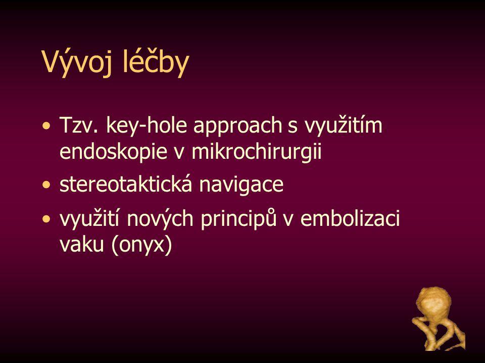 Vývoj léčby Tzv. key-hole approach s využitím endoskopie v mikrochirurgii. stereotaktická navigace.