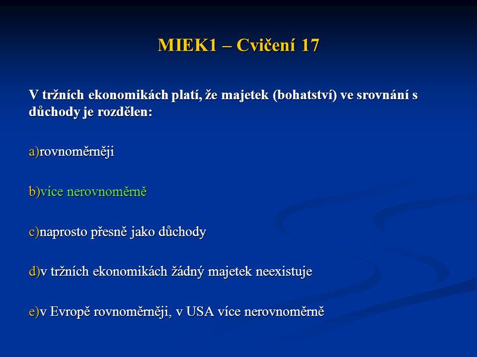 MIEK1 – Cvičení 17 V tržních ekonomikách platí, že majetek (bohatství) ve srovnání s důchody je rozdělen: