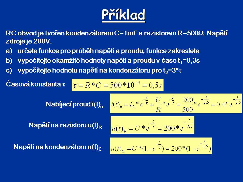 Příklad RC obvod je tvořen kondenzátorem C=1mF a rezistorem R=500. Napětí zdroje je 200V.
