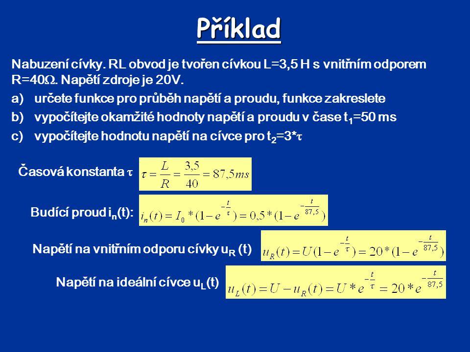 Příklad Nabuzení cívky. RL obvod je tvořen cívkou L=3,5 H s vnitřním odporem R=40. Napětí zdroje je 20V.