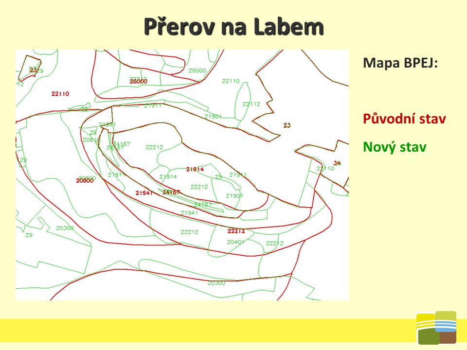 Přerov na Labem Mapa BPEJ: Původní stav Nový stav
