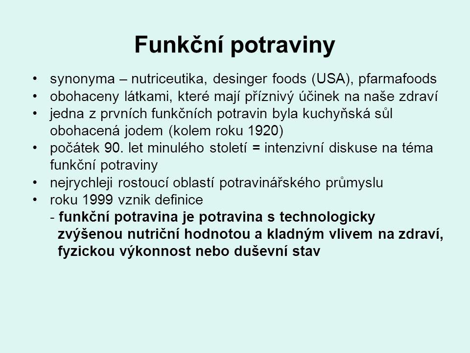 Funkční potraviny synonyma – nutriceutika, desinger foods (USA), pfarmafoods. obohaceny látkami, které mají příznivý účinek na naše zdraví.