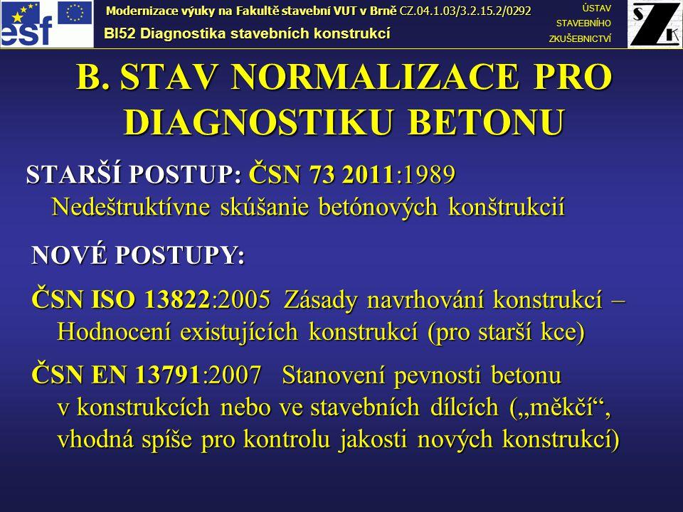 B. STAV NORMALIZACE PRO DIAGNOSTIKU BETONU