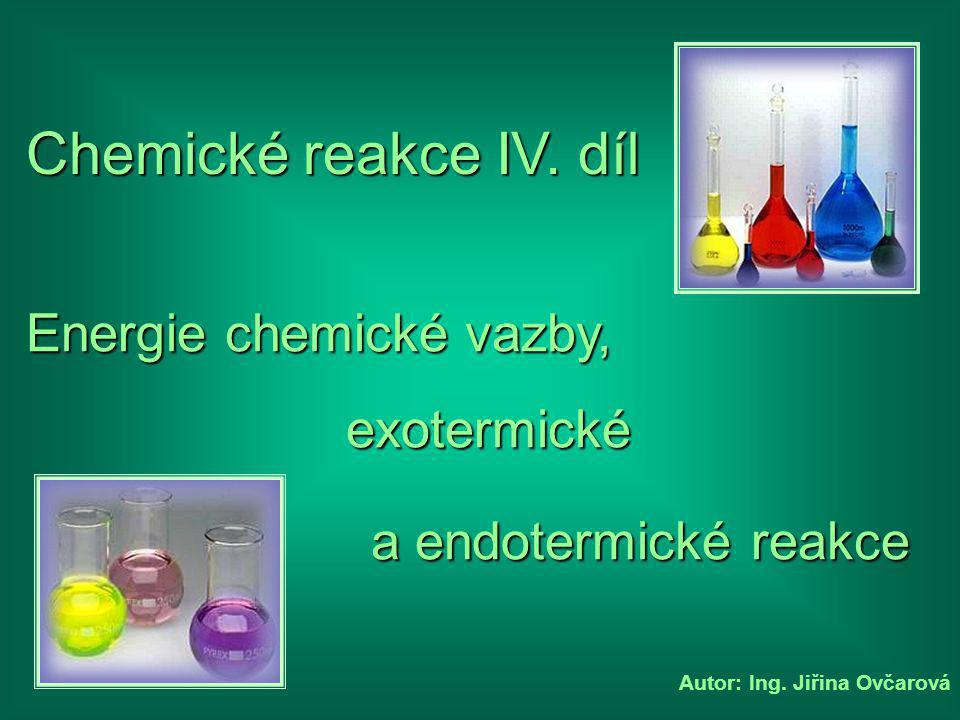 Chemické reakce IV. díl Energie chemické vazby, exotermické