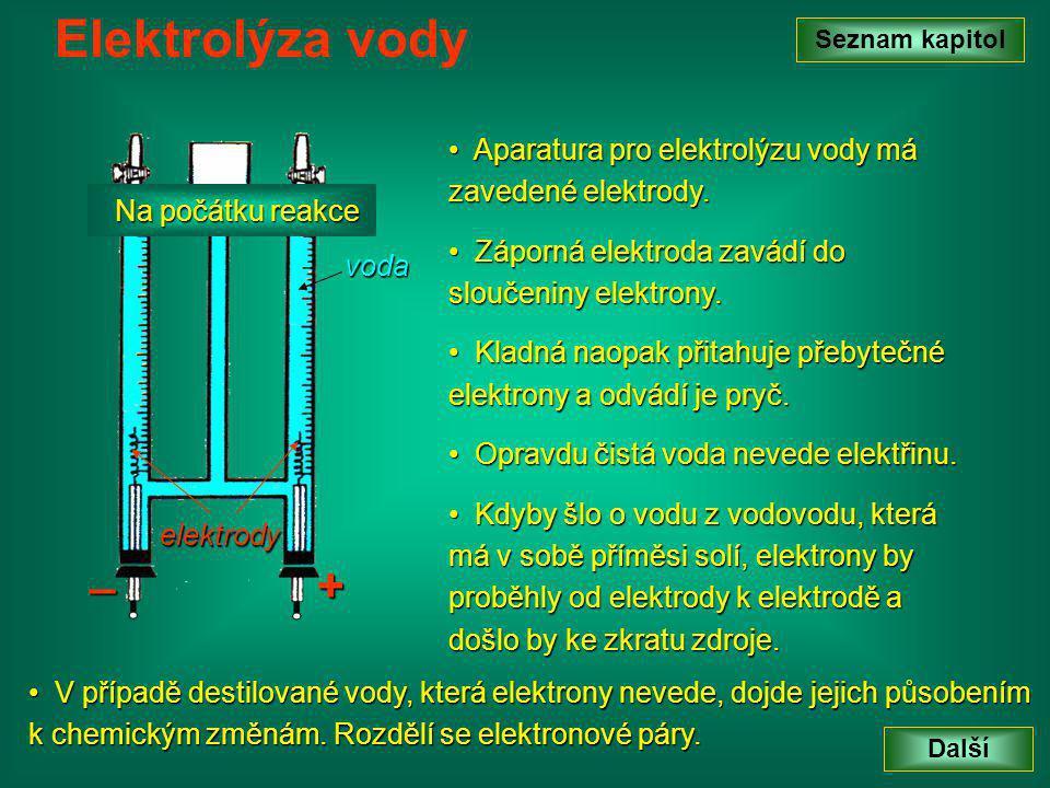 Elektrolýza vody Seznam kapitol. Aparatura pro elektrolýzu vody má zavedené elektrody. Záporná elektroda zavádí do sloučeniny elektrony.