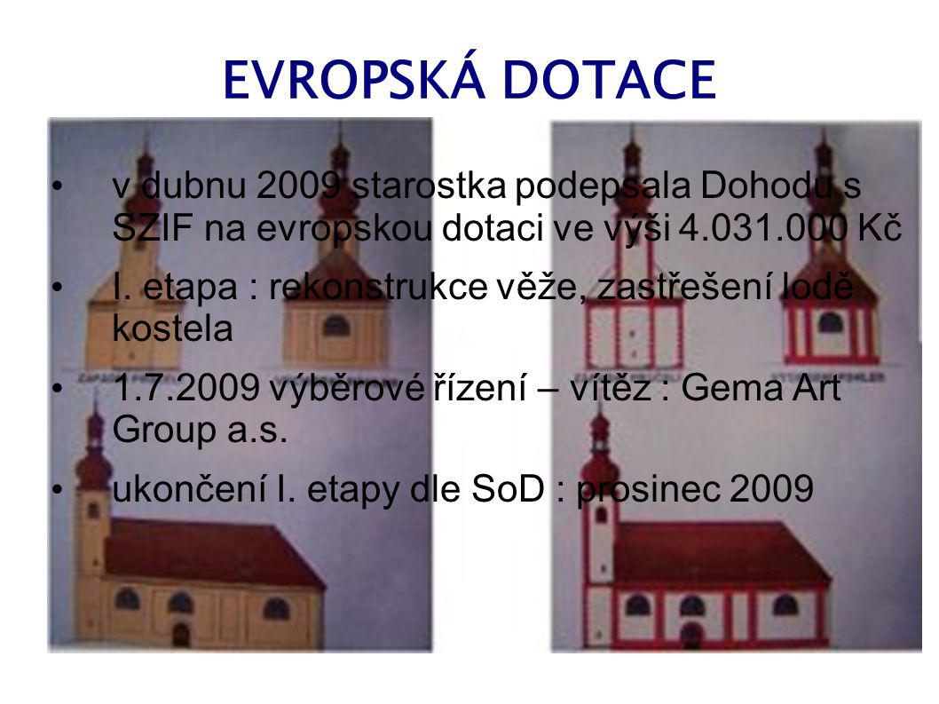 EVROPSKÁ DOTACE v dubnu 2009 starostka podepsala Dohodu s SZIF na evropskou dotaci ve výši 4.031.000 Kč.