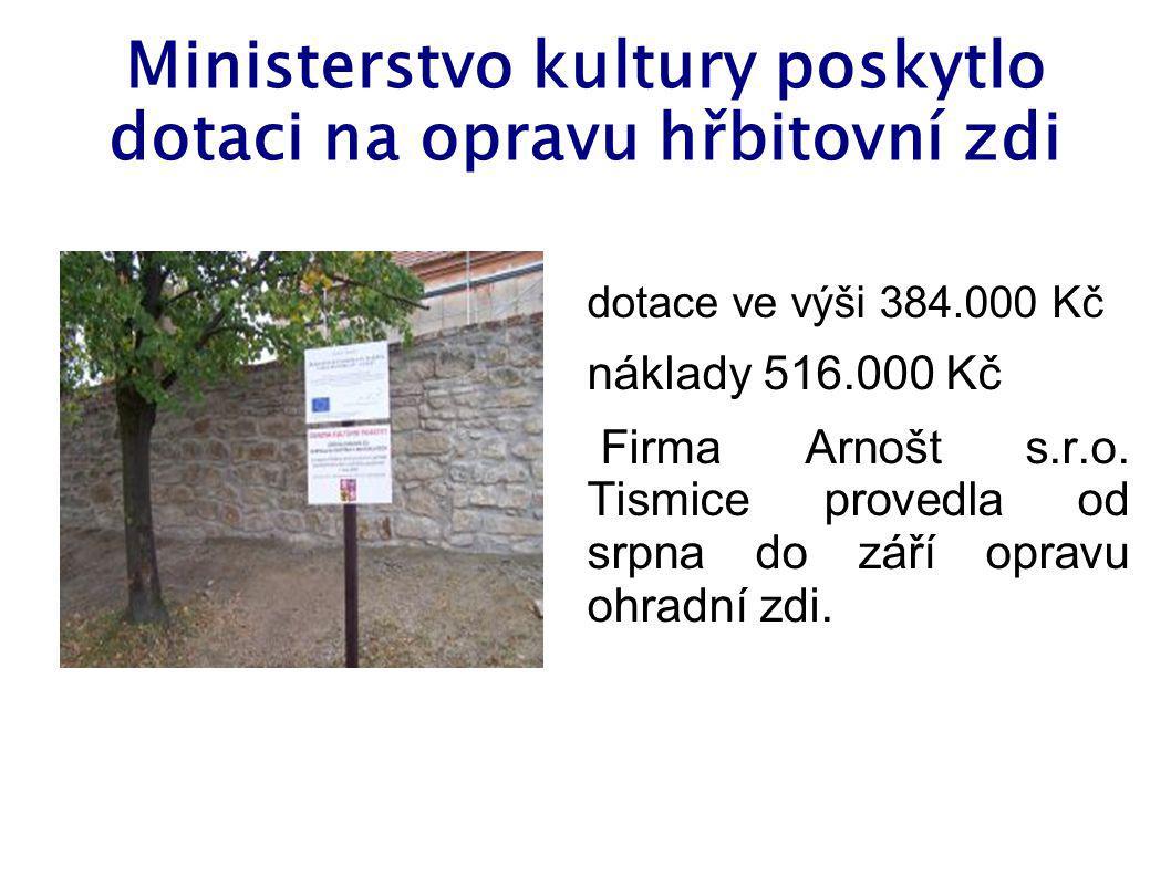 Ministerstvo kultury poskytlo dotaci na opravu hřbitovní zdi