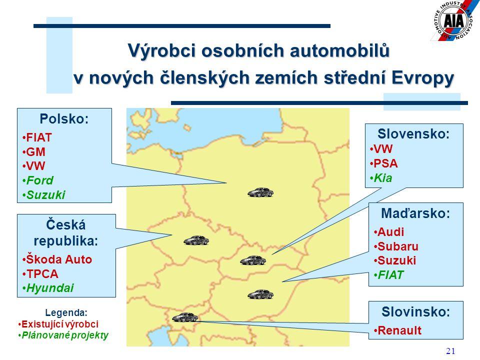 Výrobci osobních automobilů v nových členských zemích střední Evropy