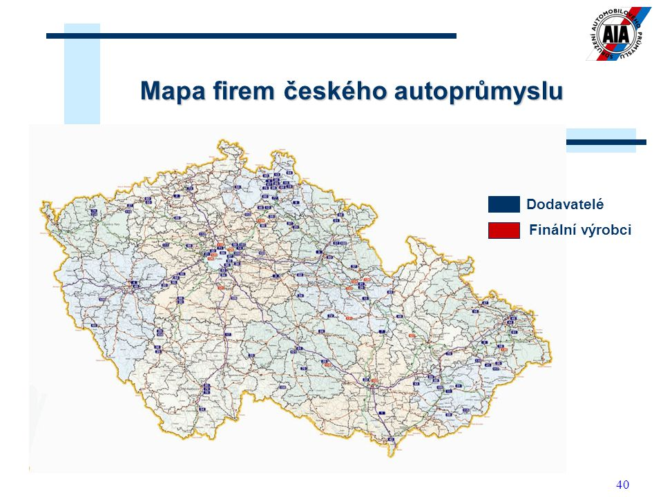 Mapa firem českého autoprůmyslu