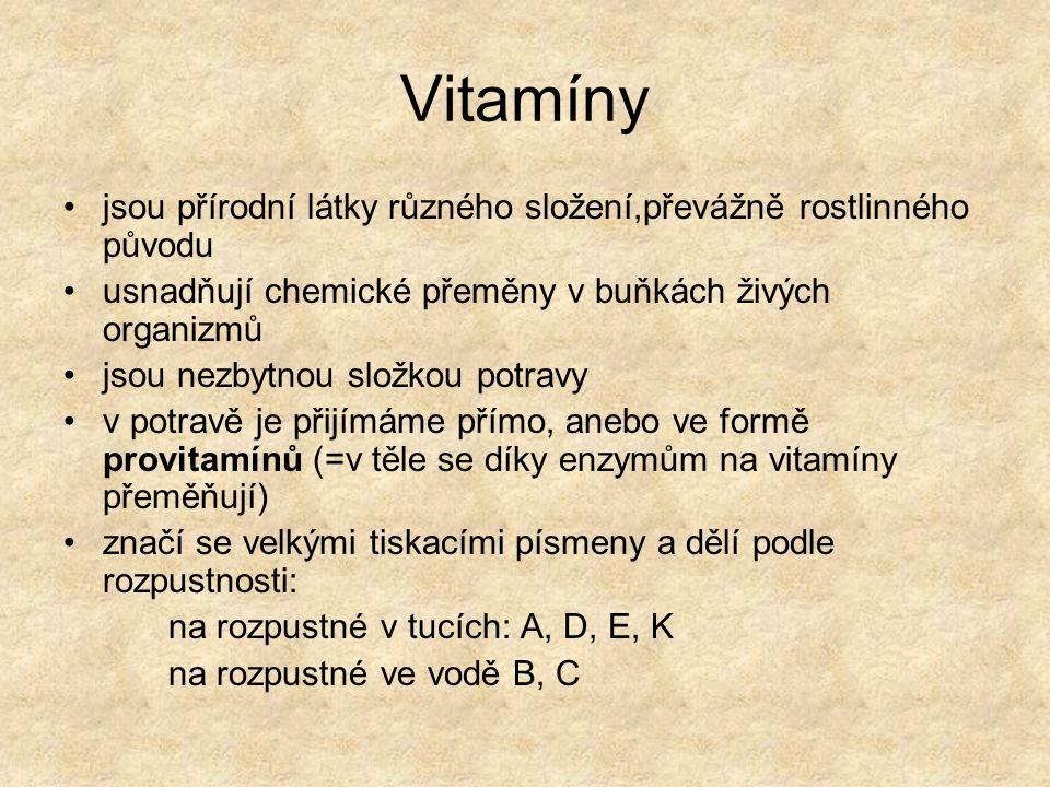 Vitamíny jsou přírodní látky různého složení,převážně rostlinného původu. usnadňují chemické přeměny v buňkách živých organizmů.