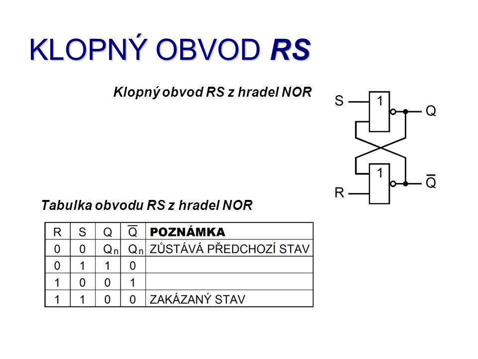 KLOPNÝ OBVOD RS Klopný obvod RS z hradel NOR