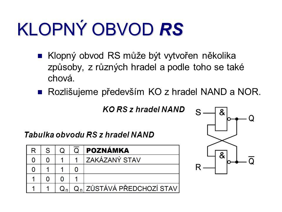 KLOPNÝ OBVOD RS Klopný obvod RS může být vytvořen několika způsoby, z různých hradel a podle toho se také chová.