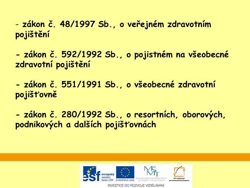 zákon č. 48/1997 Sb. , o veřejném zdravotním pojištění - zákon č