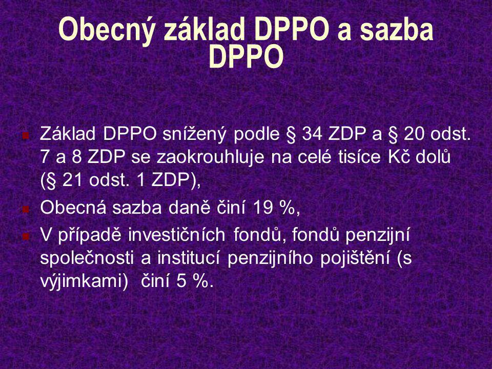 Obecný základ DPPO a sazba DPPO