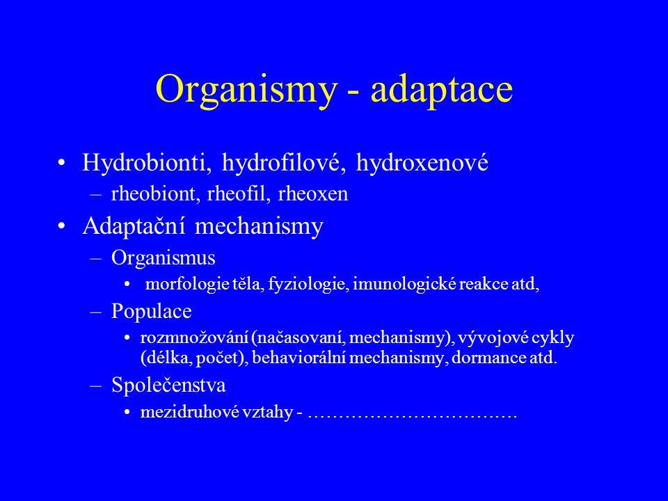 Organismy - adaptace Hydrobionti, hydrofilové, hydroxenové