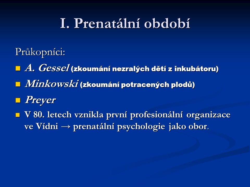 I. Prenatální období Průkopníci: