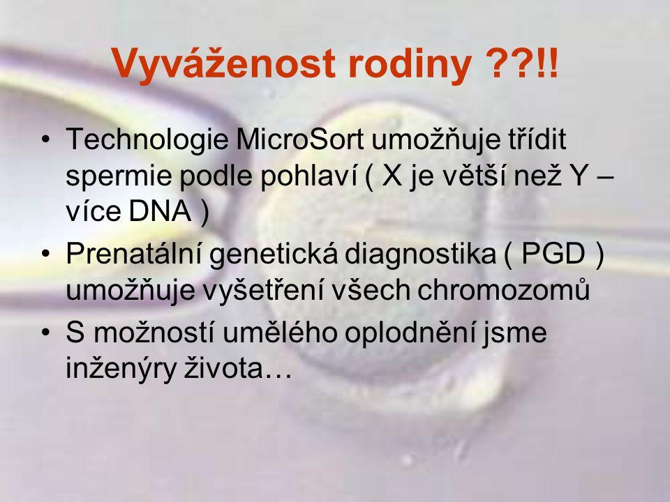 Vyváženost rodiny !! Technologie MicroSort umožňuje třídit spermie podle pohlaví ( X je větší než Y – více DNA )