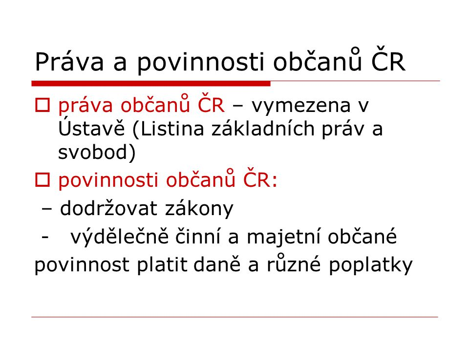 Práva a povinnosti občanů ČR