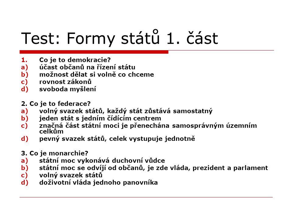 Test: Formy států 1. část Co je to demokracie