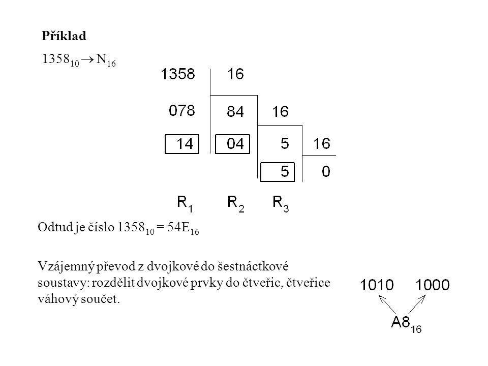 Příklad 135810  N16. Odtud je číslo 135810 = 54E16.