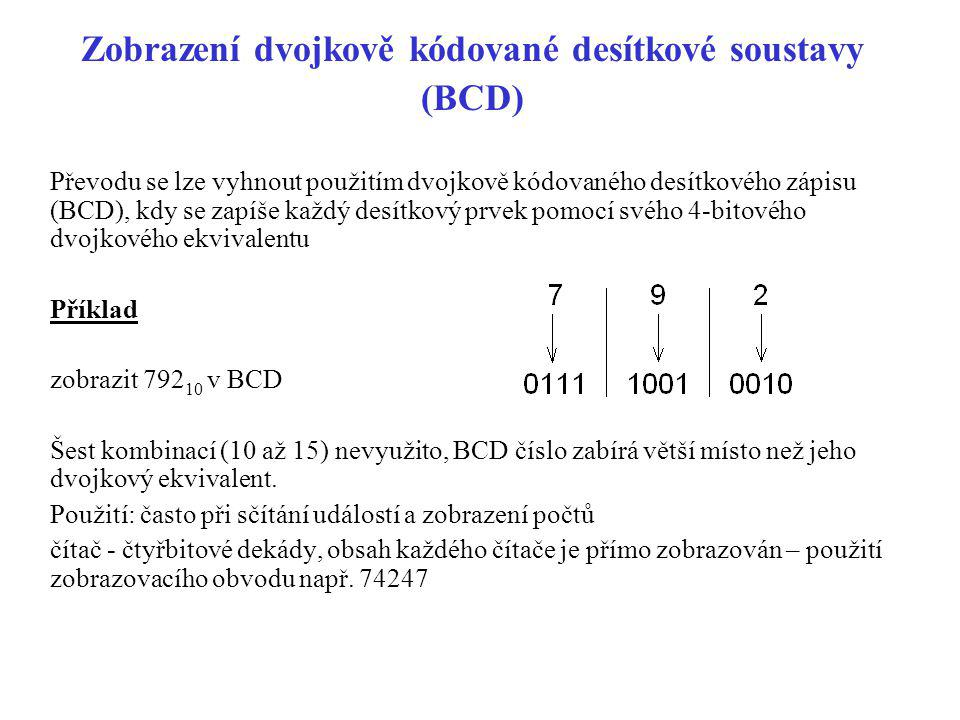 Zobrazení dvojkově kódované desítkové soustavy