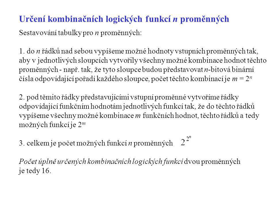 Určení kombinačních logických funkcí n proměnných