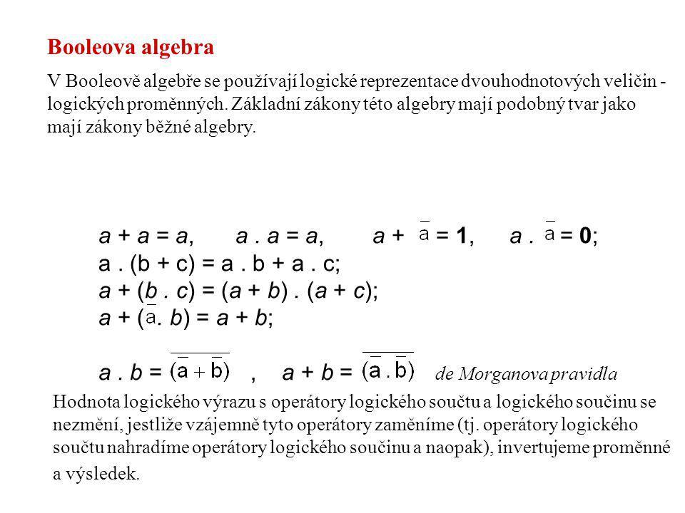 a . b = , a + b = de Morganova pravidla