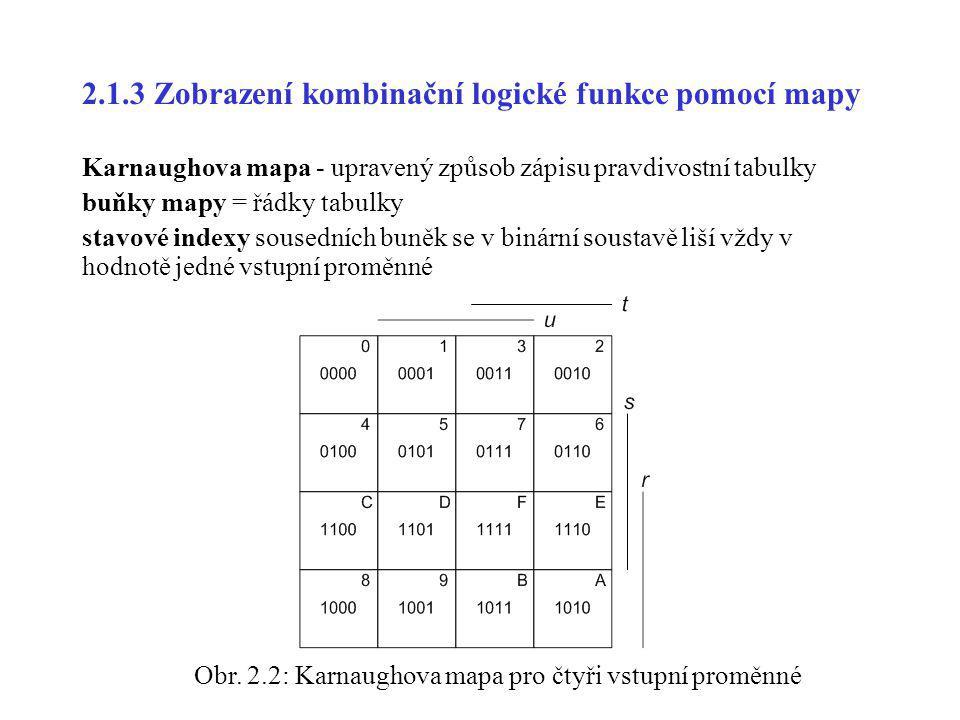 2.1.3 Zobrazení kombinační logické funkce pomocí mapy