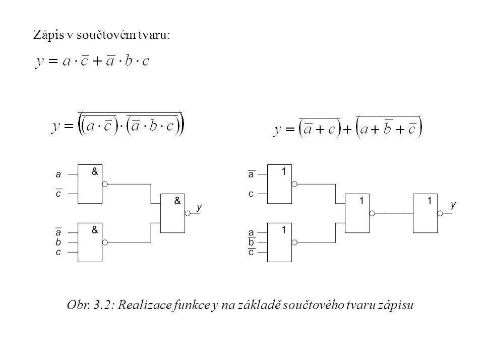 Obr. 3.2: Realizace funkce y na základě součtového tvaru zápisu