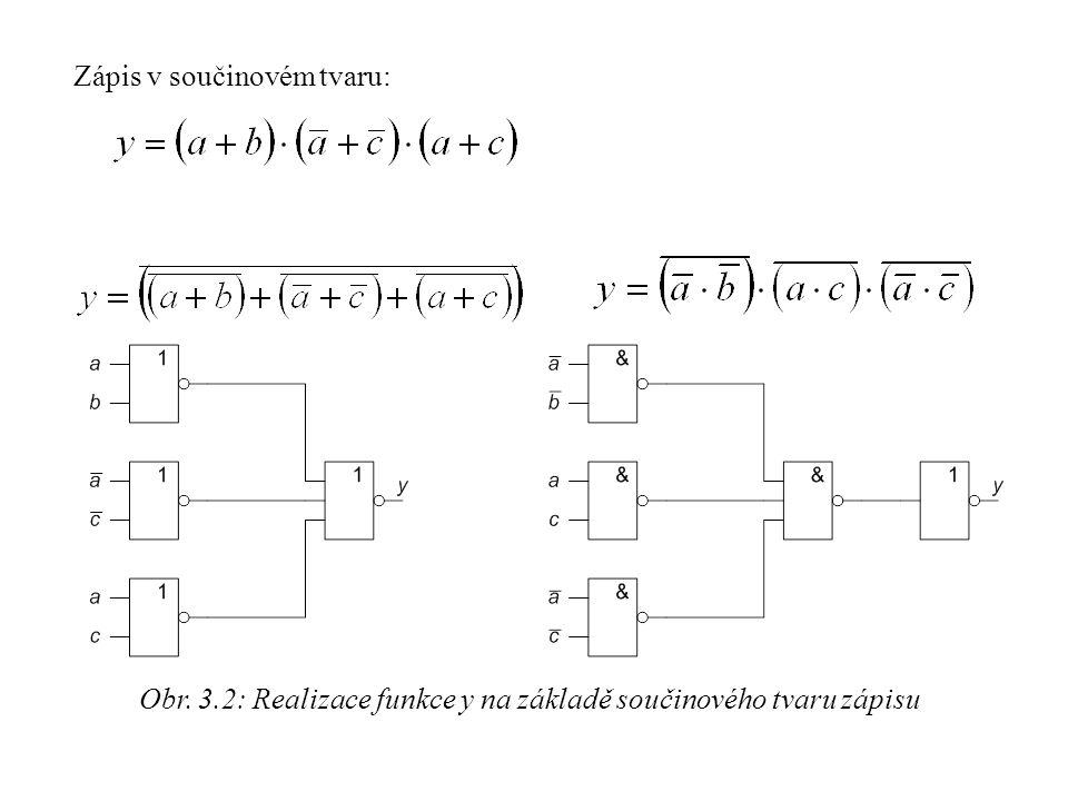 Obr. 3.2: Realizace funkce y na základě součinového tvaru zápisu
