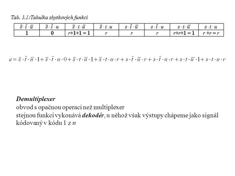 Demultiplexer obvod s opačnou operací než multiplexer.